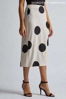 Dorothy Perkins Cream Polka Dot Spot Satin Midaxi Skirt