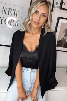 Lipsy Black Jersey Ruched Sleeve Blazer