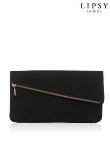 Lipsy Black Foldover Clutch Bag