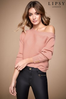 Lipsy Pink Button Sleeve Batwing Jumper