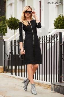 Sosandar Black Zip Front Collarless Denim Dress