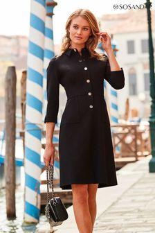 Sosandar Black Ponte Popper Front Shirt Dress