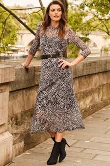 Sosandar Black Snow Leopard Print Mesh Dress