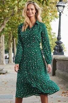 Sosandar Green Leopard Print Tiered Shirt Dress