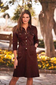 Sosandar Burgundy Popper Front 3/4 Sleeve Stretch Denim Dress