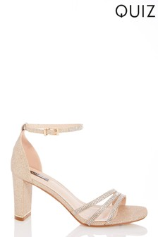 Quiz Gold Shimmer Triple Diamanté Block Heel Sandals