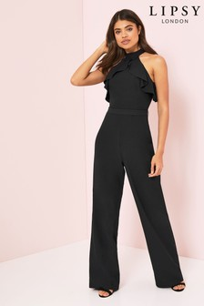 Lipsy Black High Neck Ruffle Jumpsuit