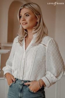 Love & Roses Ivory Dobby Lace Trim Shirt