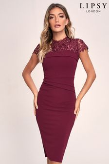 Lipsy Red Regular Lace Top Bodycon Dress