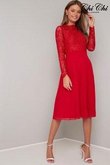 Chi Chi London Red Crochet Midi Dress