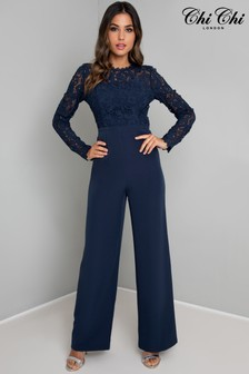 Chi Chi London Navy Embroidered Jumpsuit