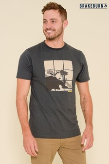 Brakeburn Grey Surf Grid Short Sleeve Printed T-shirt