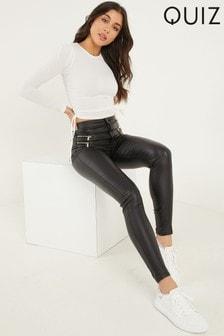 Quiz Black Coated PU Trouser
