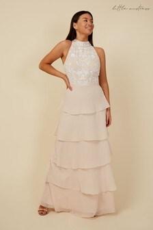Little Mistress Grey Bridesmaid Lila Sequin Tiered Hem Maxi Dress