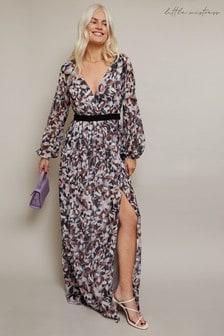 Little Mistress Grey Denise Abstract Print Maxi Dress