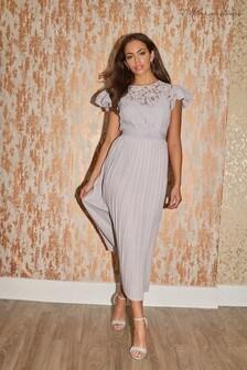 Little Mistress Grey Tyler Lace Pleated Midaxi Dress