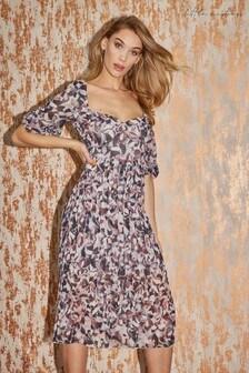 Little Mistress Grey Denise Abstract Print Pleated Midi Dress