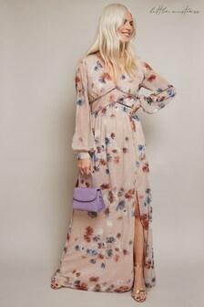 Little Mistress Black Mindy Floral Print Lurex Maxi Dress