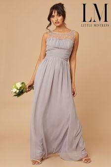 Little Mistress Grey Grace Bridesmaid Embellishment Sweetheart Maxi Dress