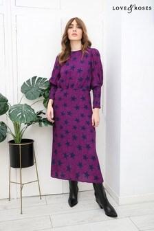 Love & Roses Purple Printed Shirred Cuff Midi Dress