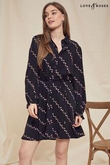 Love & Roses Black Diagonal Floral Print Shirt Dress