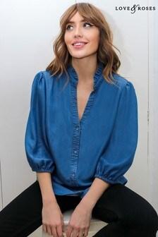 Love & Roses Blue Pretty Frill Neck Shirt