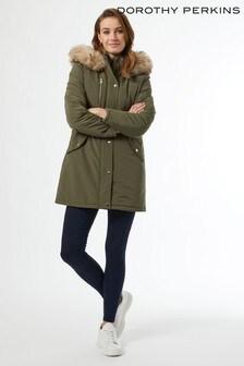Dorothy Perkins Khaki Luxe Faux Fur Trim Parka Coat