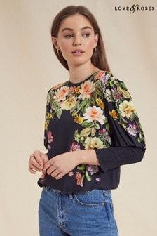 Love & Roses Black Printed Shirred Cuff Top