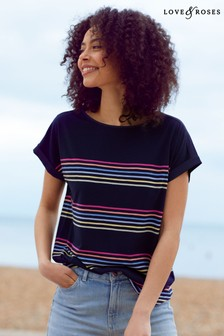 Love & Roses Navy stripe Roll Sleeve T-Shirt