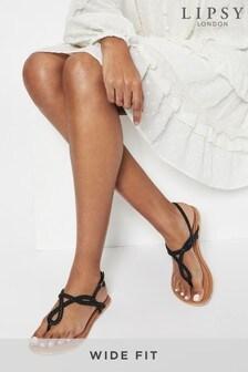 Lipsy Black Wide FIt Leather Plaited Weave Sandal
