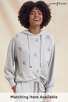 Love & Roses Grey Floral Embroidered Hoodie