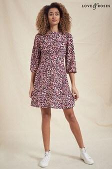 Love & Roses Nude Animal Empire Line Jersey Mini Dress