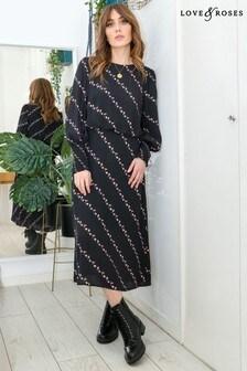 Love & Roses Black Printed Shirred Cuff Midi Dress