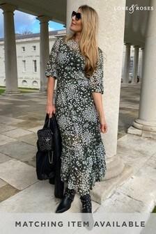 Love & Roses Black Floral Mesh Midi Dress