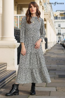 Love & Roses Black and White Printed Jersey Tiered Midi Smock Dress