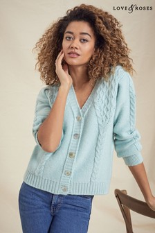 Love & Roses Sage Cable Cardigan