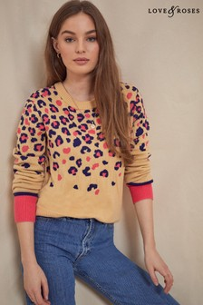 Love & Roses Nude and Pink Scattered Animal Jumper