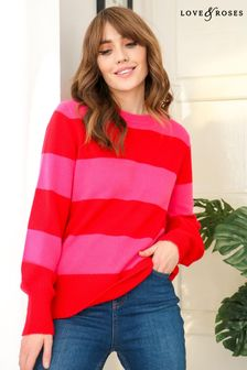 Love & Roses Red and Pink Regular Cosy Longline Jumper