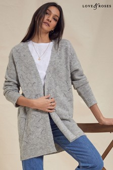 Love & Roses Grey Pointelle Longline Cardigan