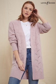 Love & Roses Blush Pointelle Longline Cardigan