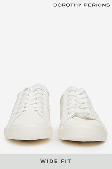 Dorothy Perkins White Wide Fit Croc Indeed Trainers