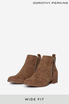 Dorothy Perkins Taupe Wide Fit Macro Side Zip Ankle Boot
