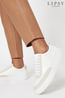 Lipsy White Star Lace Up Trainer