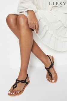 Lipsy Black Regular Fit Leather Plaited Weave Sandal