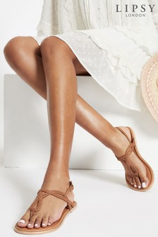 Lipsy Brown Regular Fit Leather Plaited Weave Sandal