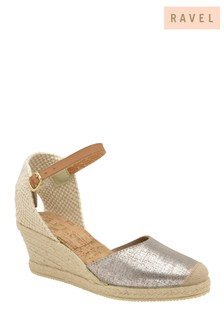 Ravel Silver Metallic Espadrille Wedge