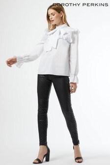 Dorothy Perkins White Long Sleeve Poplin Victoriana Top
