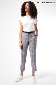 Dorothy Perkins Brown Grid Check Ankle Grazer Trouser