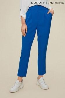 Dorothy Perkins Blue High Waisted Button Trouser