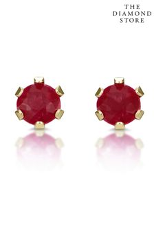 The Diamond Store Ruby Studded Earrings in 9K Yellow Gold 3 x 3mm